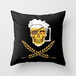 Beer Mug Pirate Skull - Brewery Emblem - Alcohol Throw Pillow
