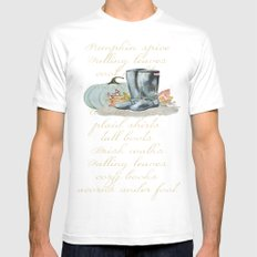 Cozy Fall things  MEDIUM White Mens Fitted Tee