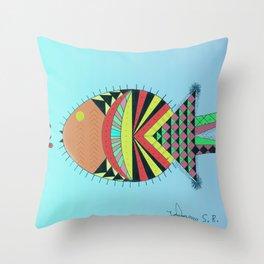 the tamborin fish or puffer fish Throw Pillow