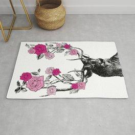 The Stag and Roses | Deer and Flowers | Pink | Vintage Stag | Vintage Deer | Antlers | Woodland | Rug