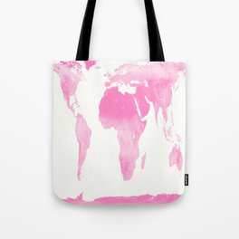 world map pink  Tote Bag