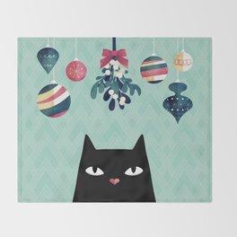 Mistletoe? (Black Cat) Throw Blanket