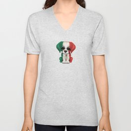 Cute Puppy Dog with flag of Mexico Unisex V-Neck
