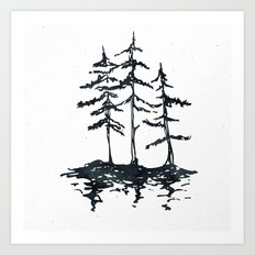 THE THREE SISTERS - Trees in Black and White Rustic Vintage Forest Adventure Art Art Print
