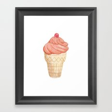 Watercolour Illustrated Ice Cream - Tangerine Chiller Framed Art Print