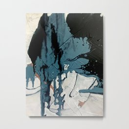 Fortune: A bold, minimal, abstract mixed-media piece in blue and black Metal Print