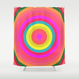 Pink Radial Shower Curtain