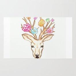 Deer with flowers Rug