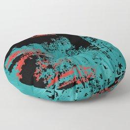 Grunge Paint Flaking Paint Dried Paint Peeling Paint Teal Red Black Floor Pillow