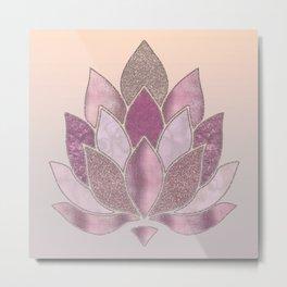 Elegant Glamorous Pink Rose Gold Lotus Flower Metal Print