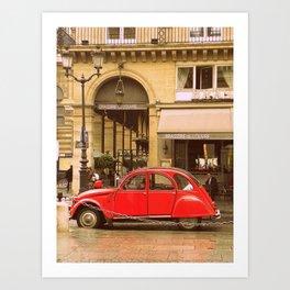 A Little Red Car in Paris  Art Print