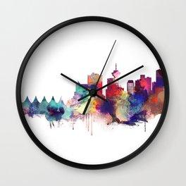 Vancouver Watercolor Skyline Wall Clock
