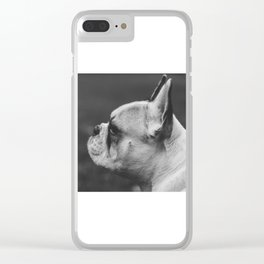 Wistful monochrome Frenchie Clear iPhone Case