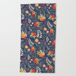 Navy Floral Beach Towel