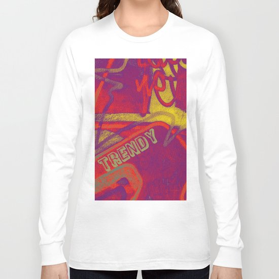 Cool TRENDY script graffiti style print in bold mauve purple, orange tangerine, yellow, teal and red Long Sleeve T-shirt
