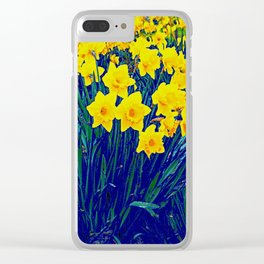 BLUE-PURPLE GARDEN OF YELLOW SPRING DAFFODILS Clear iPhone Case