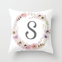Floral Wreath - S Throw Pillow
