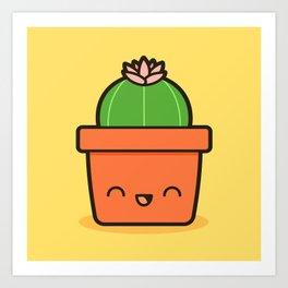 Cactus in Kawaii Pot  2 Art Print