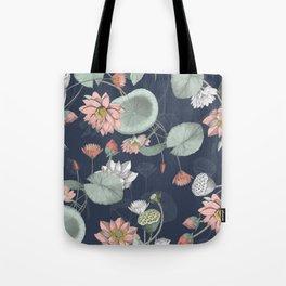 moody midnight lotus seamless pattern Tote Bag