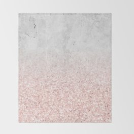 Blush Pink Sparkles on White and Gray Marble II Throw Blanket