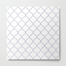 Quatrefoil - white and silver Metal Print