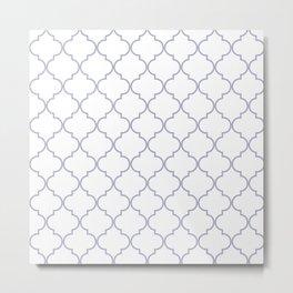 Quatrefoil - white and silver Metal Print