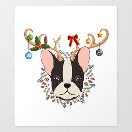 French Bulldog Reindeer Christmas Gift Art Print