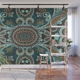 Turquoise Brown Vintage Paisley Wall Mural