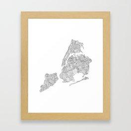 New York City Boroughs - Hand lettered map Framed Art Print
