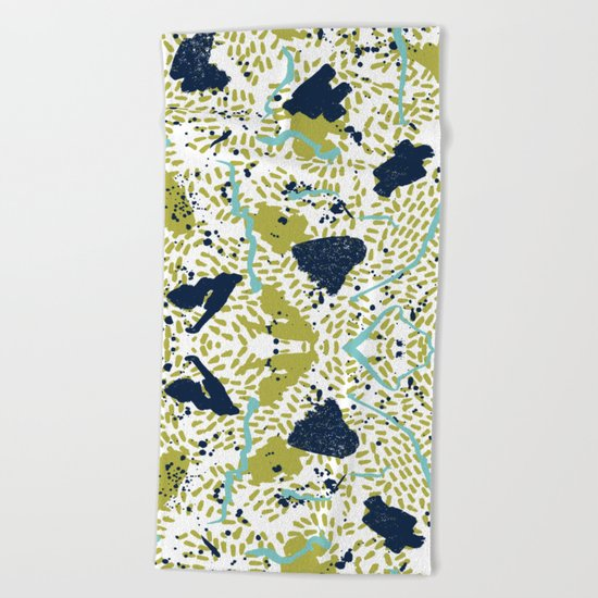 Trenton - modern minimal abstract painterly palette urban brooklyn cali city beach painting dorm  Beach Towel