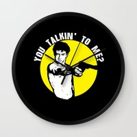taxi driver Wall Clocks featuring Taxi driver quote v2 by Buby87