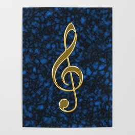Golden treble clef Poster