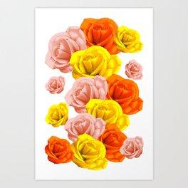 Roses Pastels Floral Collage Art Print