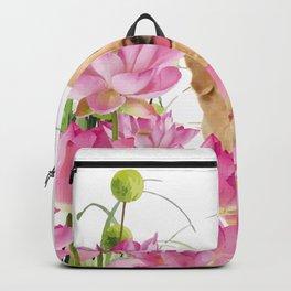 Labrador Retrievers with Lotos Flower Backpack
