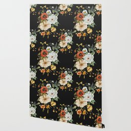 Wildflower Bouquet on Charcoal Wallpaper
