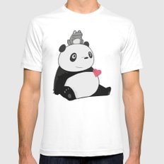 Panda 3 SMALL Mens Fitted Tee White