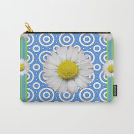 Baby Blue Modern Deco Style Shasta Daisies Art Carry-All Pouch