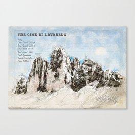 Drei Zinnen, South Tyrol Italy Canvas Print