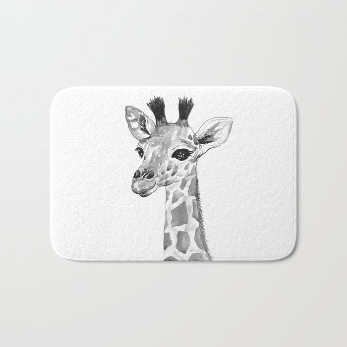 baby giraffe, black and white Bath Mat