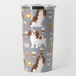 Cavalier King Charles Spaniel coffee lover custom pet portrait by pet friendly dog breeds Travel Mug