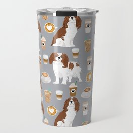 Cavalier King Charles Spaniel coffee lover custom pet portrait by pet friendly dog breeds Travel Mug