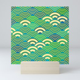 abstract scales simple Spring Nature background with japanese circle Mini Art Print