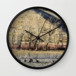 Landscape with Turkeys and Trees Wall Clock