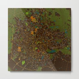 Bangalore old green map Metal Print