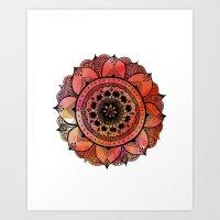 Hand Drawn Mandala Print | Bright Red Mandala Print | Aztec Mandala | Zentangle Mandala | Mandala  Art Print