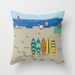 Afternoon at the beach (b) Throw Pillow