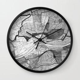 Vintage Map of Frankfurt Germany (1905) BW Wall Clock