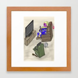 Video Family watching Movie Framed Art Print