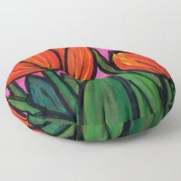 Tulips at Sunset Floor Pillow