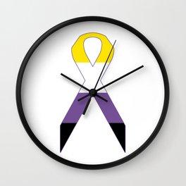 Gender Non-Binary Ribbon Wall Clock